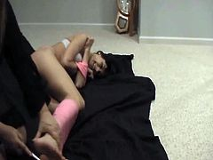 Tape tied cunt Gwen Pierce ball gagged and later tickled