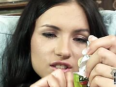 Sasha Rose fucks herself like mad in solo action