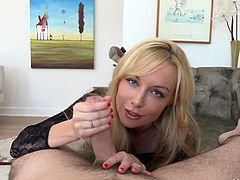 Kayden just turned 30, which means she's an official milf. She's still as slutty as ever, getting naked for Manuel and touching herself. That gets him excited, but not nearly as excited as when she begins to suck on his cock.