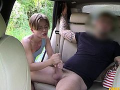 She agreed to give a handjob for a free ride in the taxi, but once she wrapped her had around the cab driver's big cock, she wanted to do more, than just jerk him off. She was sucking him of in the backseat of the cab. Look at how she rids his meaty pole.