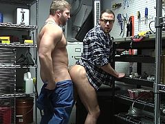 These hunky shop teachers were supposed to be showing off their mechanic skills, but instead, they needed to have hot gay sex. One of the studs bends over, to take juicy cock deep in his tight asshole. What a sight as he gets fucked on his back.