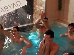 Non-Professional euros jerking at group party