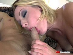 Horny blonde in fishnet stockings gets ass fucked hardcore