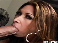 Brunette Tiffany Mynx is horny as hell and gives cock massage with wild passion