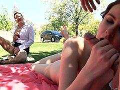A horny lady finds pleasure in watching her daugter getting laid. She cannot be sent away, so slutty Jay starts sucking her boyfriend's cock and balls. Meanwhile, the perverse milf begins to masturbate, shamelessly. Lucas gets really entertained... See what these bitches are up to now!