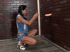 She saw a gloryhole dick and decided to go horny and messy!