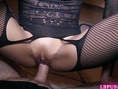 Sexy Thai post-op Dada in her black fishnet bodysuit is immediately penetrated by a bareback cock and covered in sperm.
