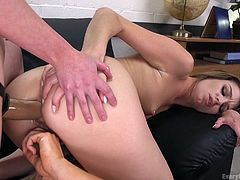 Alura is holding a vibrator firmly on her pussy, while Aspen slides her hand in the milf's tight asshole. Now, Aspen bangs Casey's butthole from behind, while Alura watches, sucking the strap on occasionally.