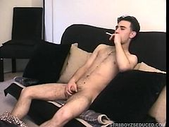 It takes a few minutes for shy str8 Paulie to settle down today, as hes still nervous and wants a cigarette before starting. After stripping he begins stroking his dick and when he thinks Vinnie is coming in the room he covers himself with the towel. A few quick minutes of stroking and its all over, spilling a nut on his hairy little stomach.