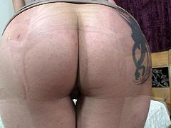Curvy blonde with a shaved slit goes naked and enjoys the black dick