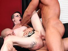 Visit official Burning Angel's HomepageSlut in heats, with pierced nipples and clit, endures two dicks in both her love holes during rough threesome sex experience on a couch