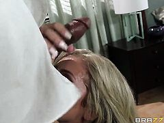 Blonde Madelyn Monroe is horny as hell and fucks with wild passion in interracial hardcore action with hot man