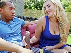 Summer is relaxing outside with a friend, leisurely sucking on his big, black cock. When it's time to fuck, they take the fun inside on the couch, where he gets behind that sexy blonde bitch and long strokes her little white pussy.