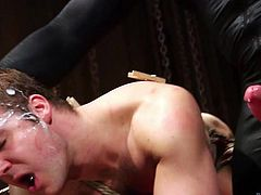 Pain is nothing for this slave. The gay bondage slave is completely immune to rough pain. The more clothepins that the master puts on his body, the more he gets turned on. Trent sticks his big cock in Connor's super tight asshole and make him lick it afterwards.