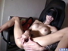 Blindfolded ladyboy love-slave Alice unawares guy taking video of fucking her mouth, toying and fucking her ass bareback. Alice takes off her blindfold only when the sperm flows from her gaping asshole.