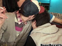 Amateur euros jerking at party in group