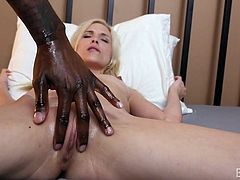 Piper was tired of having sex with white boys. She wanted a big black cock, which could penetrate her pussy balls deep, and made her feel like a slut. Jon Jon rubbed her breasts and massaged her vagina with oil. He pushed middle finger in her asshole and fingered her cunt. Now her holes were ready for the real monster