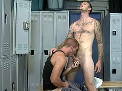 Christian catches Scott sniffing his underwear in the locker room, and he acts mad at first, teasing him about liking it. He figures he might as well get his dick sucked, so he tells him to get on it, and he does it fabulously.