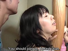 Japanese spring cleaning done right as a voluptuous mother in law allows the husband of her daughter to have secret sex with him while his wife cleans right next to them in HD with English subtitles