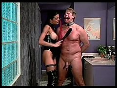 Sexy mistress abuses his cock and balls