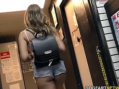 Melissa Moore gives nice blowjob before gets fucked in adult bookstore by a big black cock...