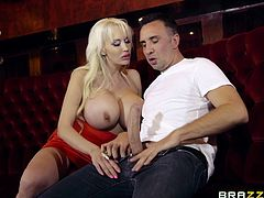 Slutty Sandra can't wait to get dirty and this time, she picked horny Keiran to play with. Click to watch the busty blonde-haired milf, sucking dick and riding it! Don't miss the inciting moments and have fun.