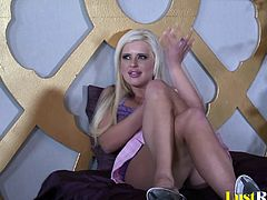 When she gets caught masturbating, the beautiful blonde Andi Anderson will get joined and completely pleasured. Her ass will get ravished by a long pecker and she will also receive a huge spunk on her face!