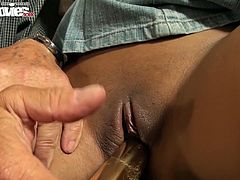 Sex-crazy young chick Foxy Love gives blowjob to one old man in mask