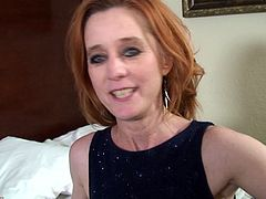 Beautiful and skinny mature redhead fucked in the cunt and ass