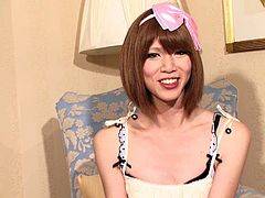 Close up on a Japanese tranny cock as she masturbates
