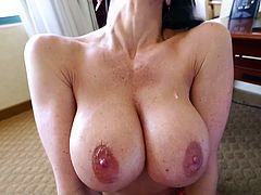 Visit official Titty Creampies's HomepageMind blowing milf pours oil on her big melons before getting down to business in a flaming POV oral combined with titjob and ball licking