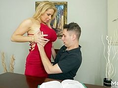 Alyssa makes all the men horny with her big, floppy mature tits. She pulled out the dick of her son's friend and tugged him off. She wants a load on her massive melons. Her years of sex experience have made her excellent at giving blowjobs.