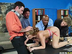 Britney was late for meeting, so she decided to to entertain others by having a gangbang. She undressed herself and played with her breasts. They rubbed her cunt and kissed her nipples, while she sucked their cocks one by one. Then they inserted two dicks simultaneously in her ass...