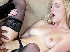 White girl's dream to play with black cock became true. Her pussy was massaged with oil and fingered, till became wet. He licked her cunt, while pressing her soft tits. Handjob and ball sucking made Tee crazy. Now it was time for the real action...