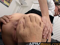 Nasty sex in the office with brunette secretary Dana Dearmond