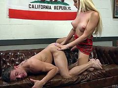 Aubrey films the hot action with her phone, as she slides her hot cock deep inside her boyfriend's warm asshole. She stretches him so wide, like the ass slut that he is. The blonde tranny goddess stuffs her cock and balls in her man's mouth, then she licks his asshole clean.