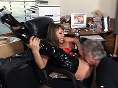 Old guy worships the hot cunt of Ava Devine