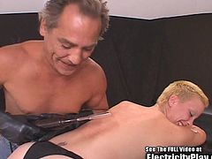 Short hair blonde petite with small tiny tits who is fucking horny for cock. Little did she know she would be roped to an exam table and electro shocked by a whacko doctor! Watch him spank her, zap her and fuck her tight pussy hole!