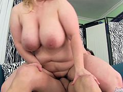 Chubby and beautiful BBW sucks her guy's hard dick and gets her pussy eaten by him before she gets her pussy drilled with his cock