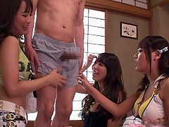 These hot Japanese sluts notice that their pervy old neighbor is so horny for them. They invite him over and tease him so badly. His cock is rock hard in his trousers and they rub their supple hands all over his body. He is going to get jerked off hard and fast.