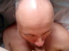 Older friend sucks my cock and I shoot all over his face