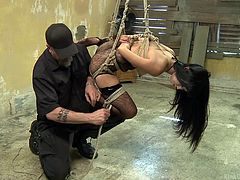 In this video, you can see how an instructor ties up naughty Marica in a hard rope bondage. Then, Danarama approaches her and stuffs his dick down her throat. Dare to watch this brunette wearing sexy stockings, doing kinky things to entertain her guardians!