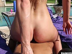 Blonde Avalon Heart is having dirty fuck with well endowed dude by the poolside