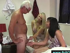 Movie showing British amateur guys and bad femdom girls in CFNM adventures