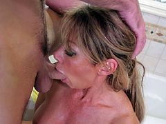 Skilled sucking head Farrah Dahl gives awesome blowjob in the shower