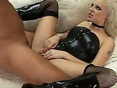 Teen in leather corset gets fucked in the ass