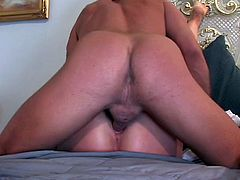 Big tits blonde takes a big one between her legs