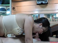 Cute Thai ladyboy Amy filmed herself for her fans. She sucking big dick and gets her big ass fucked bareback. Real home-made stuff with Amy's comments!