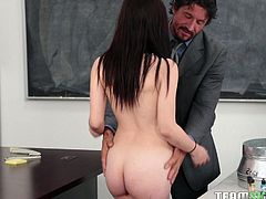 Teachers deserve more credit, than they get. They put in a lot of hours at school and home, and they take the time to help their students out. Jenna is having some trouble in chemistry, so her teacher gives her juicy slot a licking and she gives a nice sucking on his rigid member.