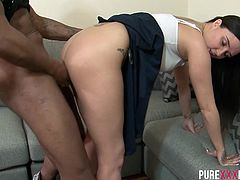 Pixie Little is one petite horny girlfriend and she found out how big her boyfriend's cock is and now she wants her part of the black meat.